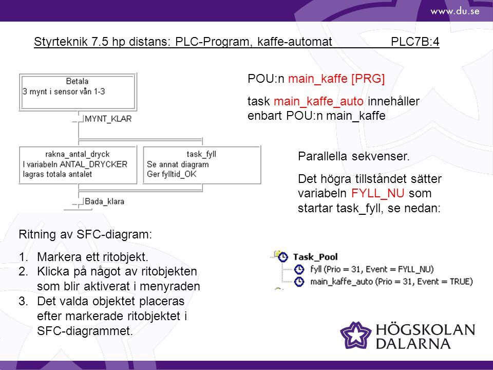 Styrteknik 7.5 hp distans: PLC-Program, kaffe-automat PLC7B:4