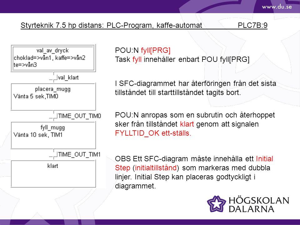 Styrteknik 7.5 hp distans: PLC-Program, kaffe-automat PLC7B:9