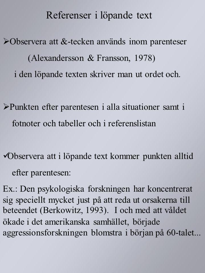 Referenser i löpande text