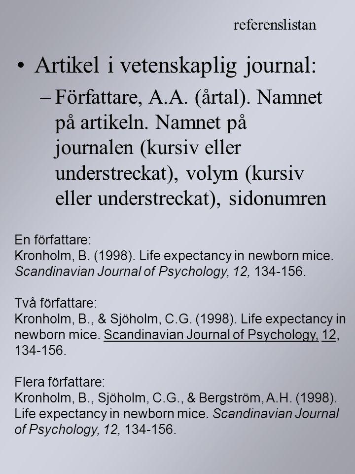 Artikel i vetenskaplig journal: