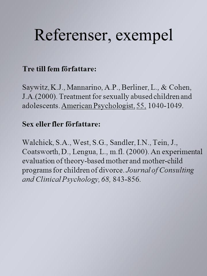 Referenser, exempel Tre till fem författare: