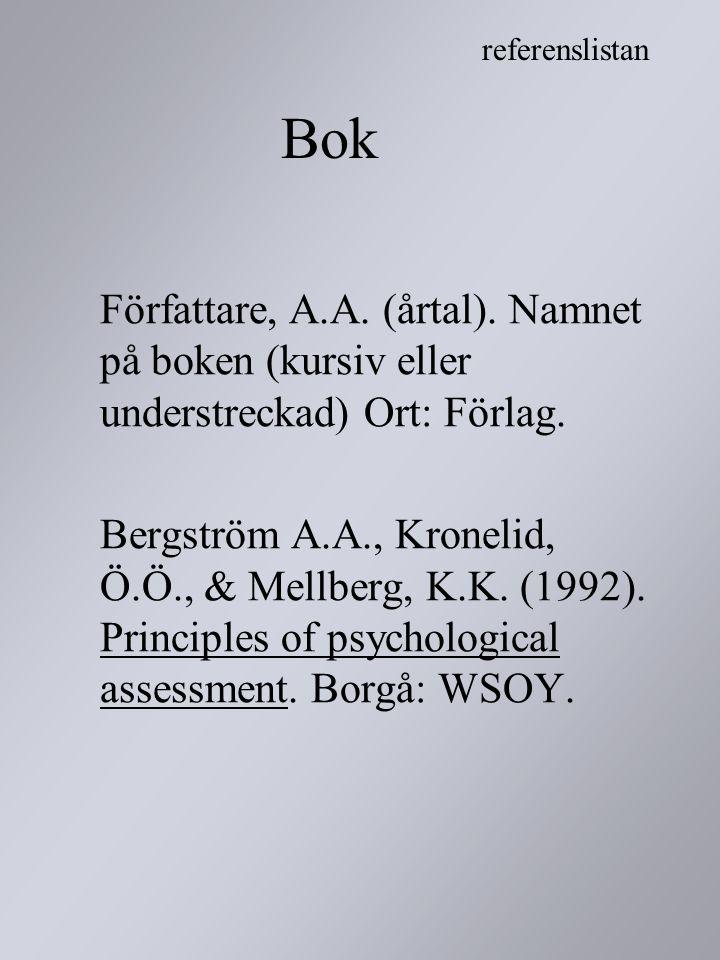 referenslistan Bok. Författare, A.A. (årtal). Namnet på boken (kursiv eller understreckad) Ort: Förlag.