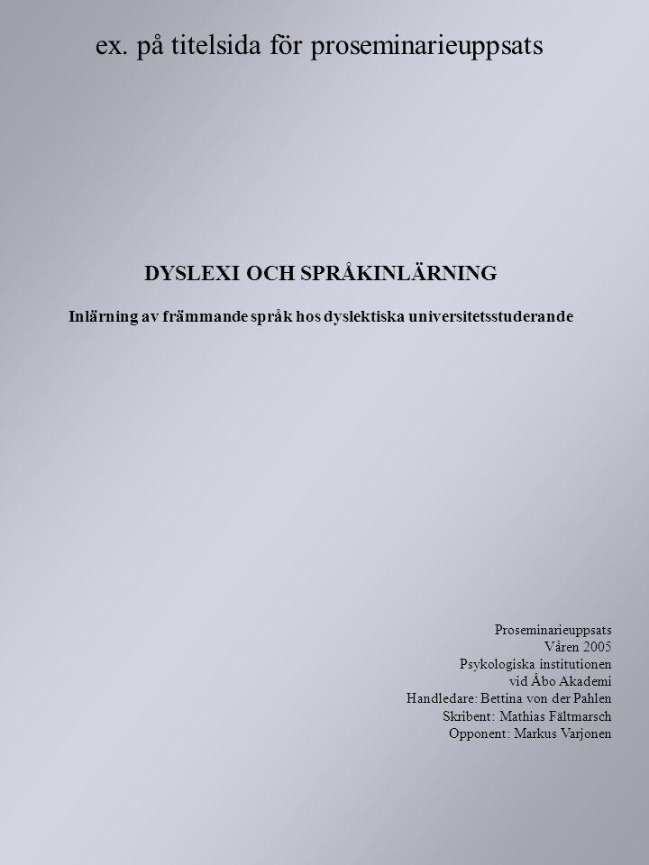 ex. på titelsida för proseminarieuppsats