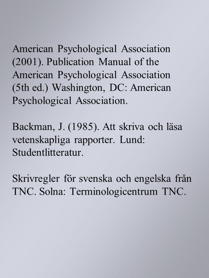 American Psychological Association (2001)