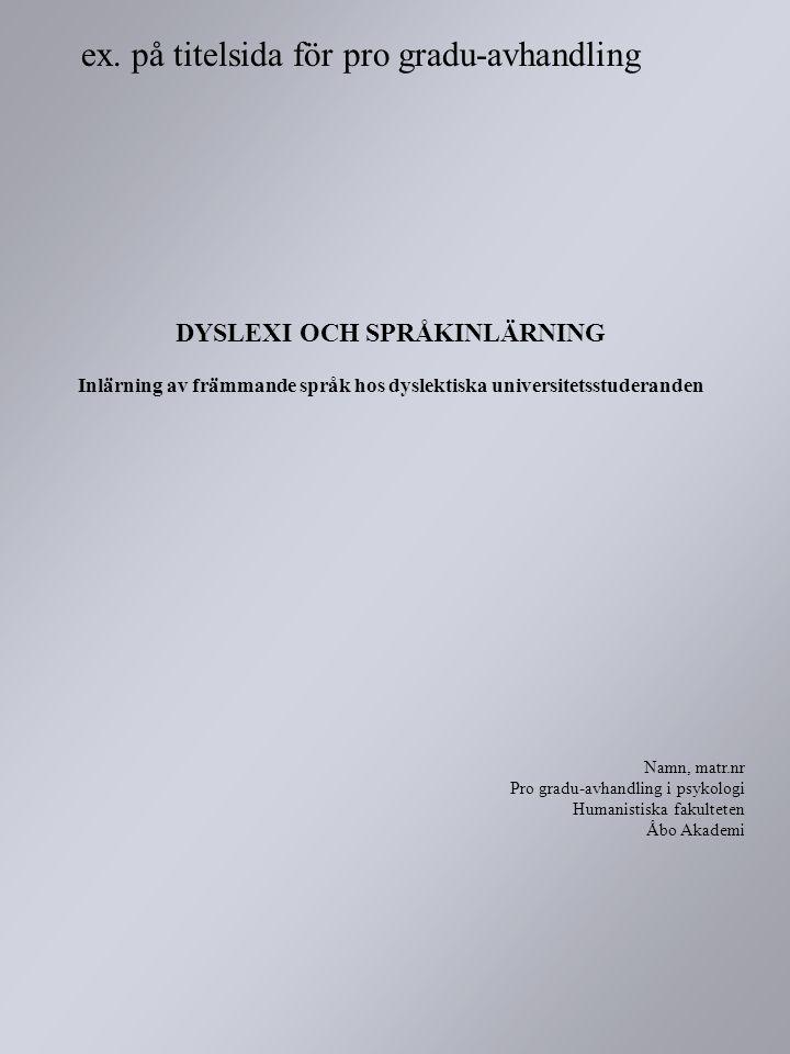 ex. på titelsida för pro gradu-avhandling