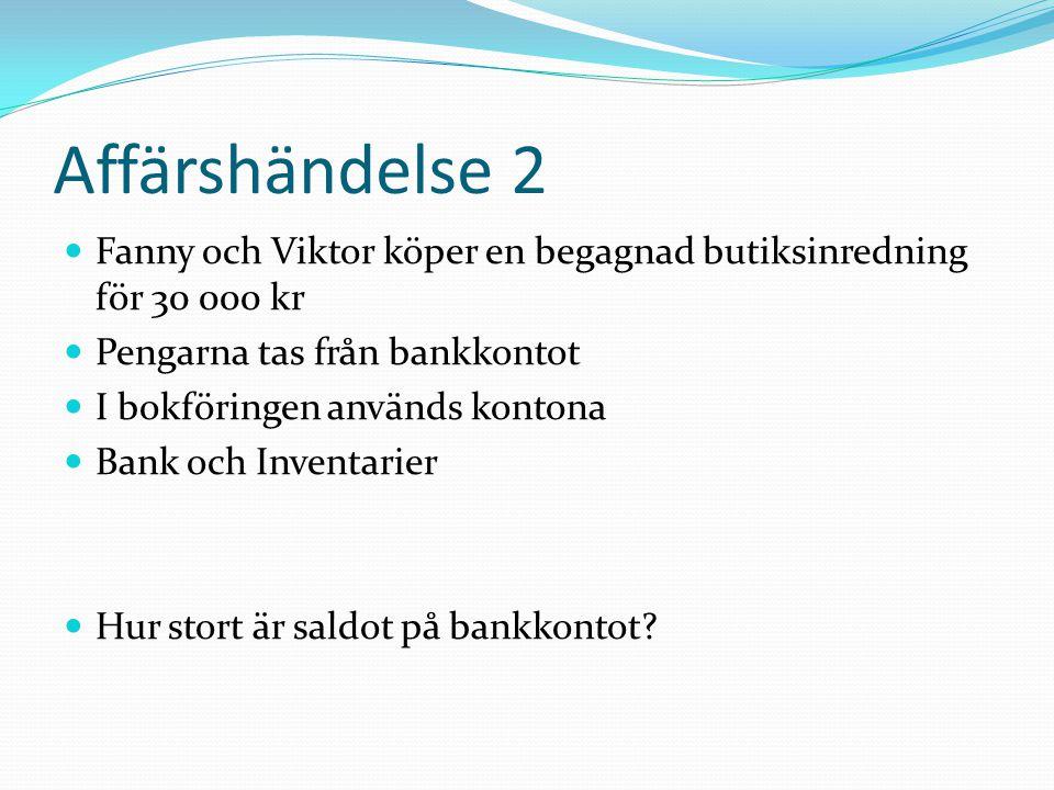 Affärshändelse 2 Fanny och Viktor köper en begagnad butiksinredning för 30 000 kr. Pengarna tas från bankkontot.