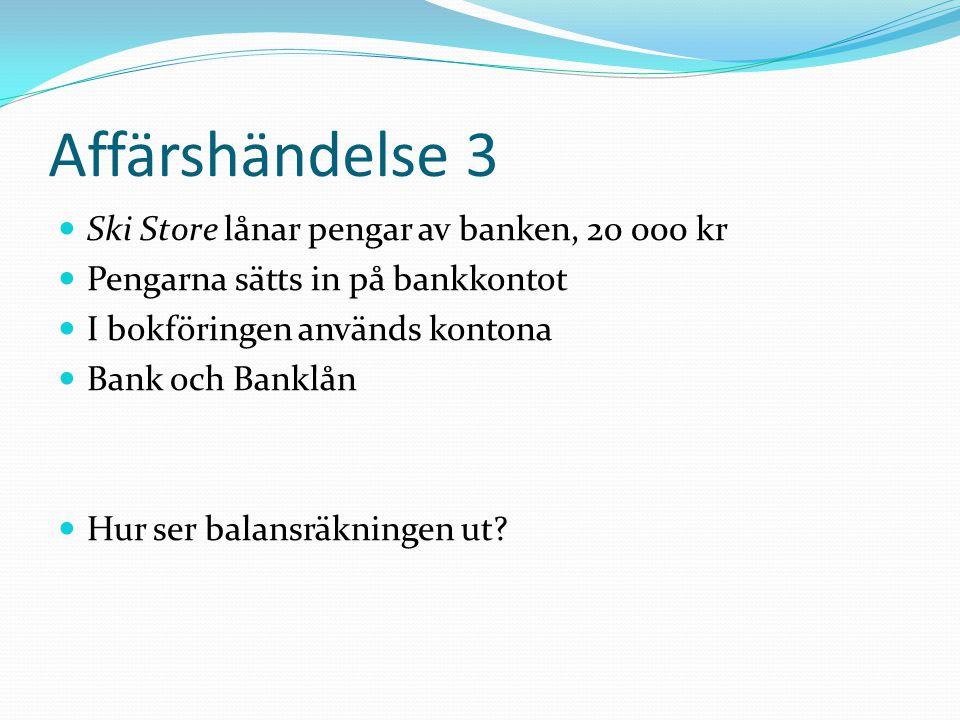 Affärshändelse 3 Ski Store lånar pengar av banken, 20 000 kr