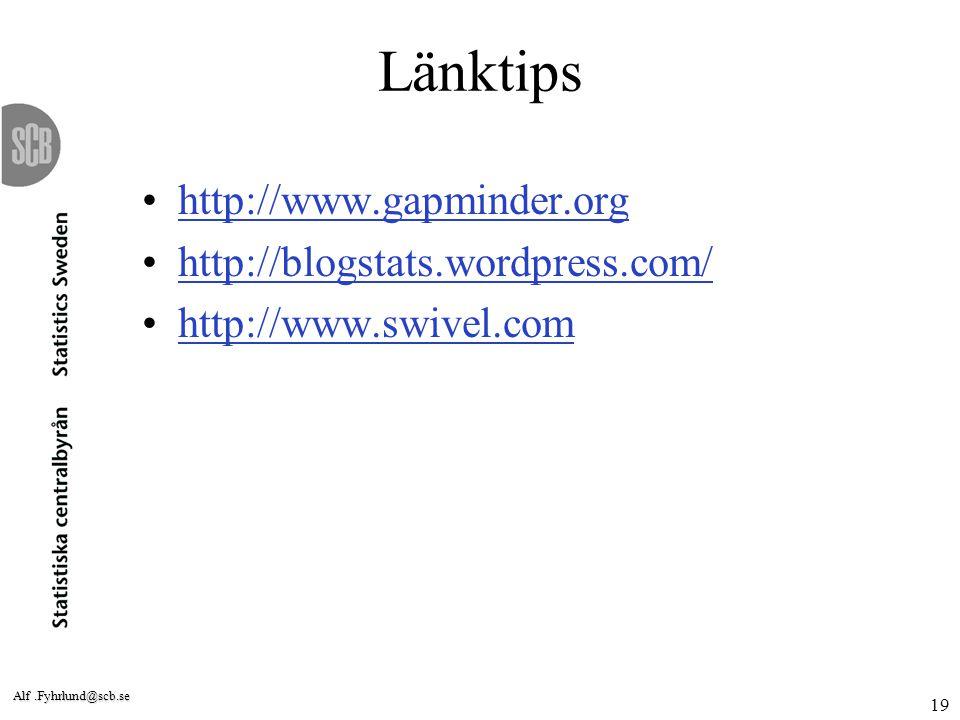 Länktips http://www.gapminder.org http://blogstats.wordpress.com/