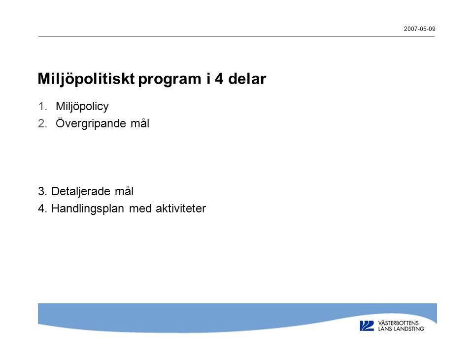 Miljöpolitiskt program i 4 delar