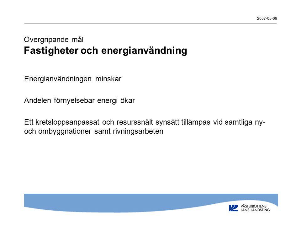Övergripande mål Fastigheter och energianvändning