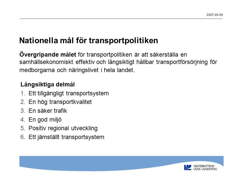 Nationella mål för transportpolitiken