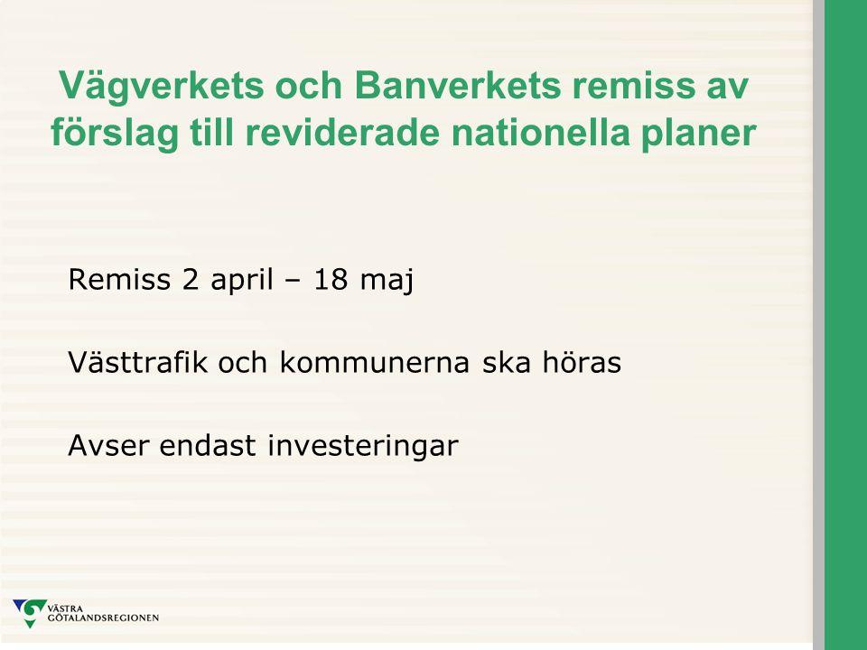 Vägverkets och Banverkets remiss av förslag till reviderade nationella planer