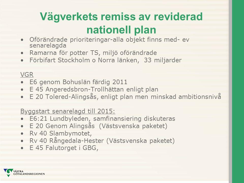 Vägverkets remiss av reviderad nationell plan