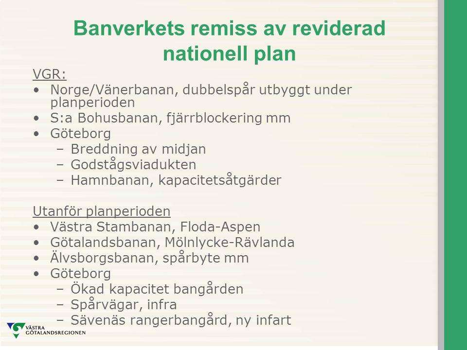 Banverkets remiss av reviderad nationell plan