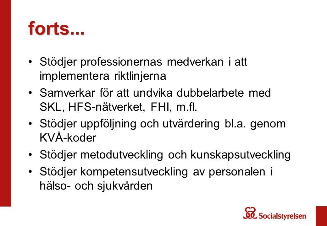 forts... Stödjer professionernas medverkan i att implementera riktlinjerna.