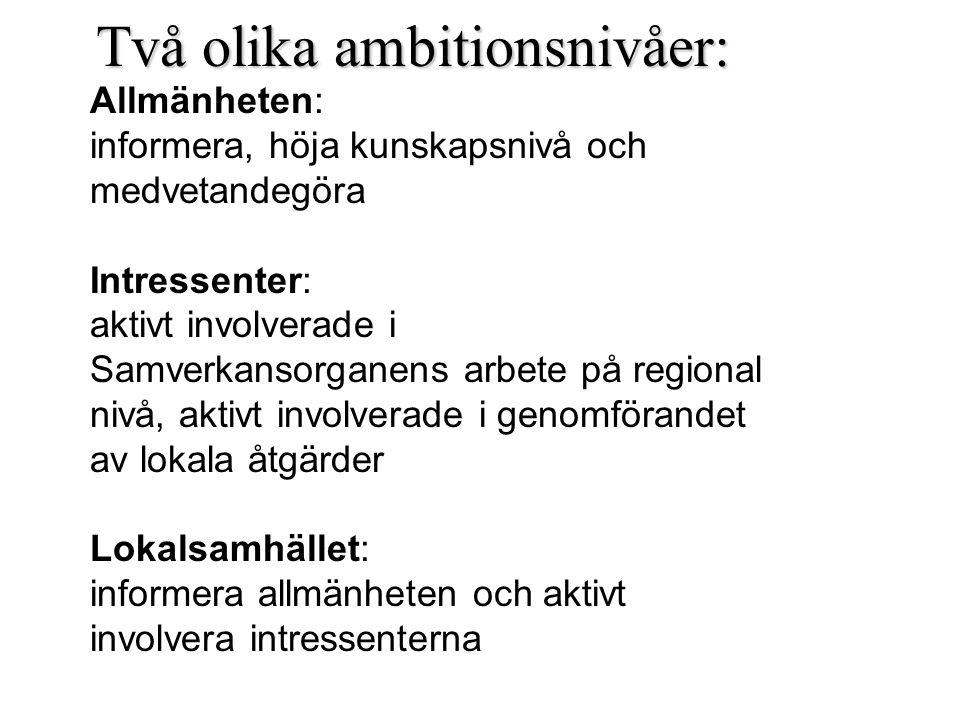 Två olika ambitionsnivåer: