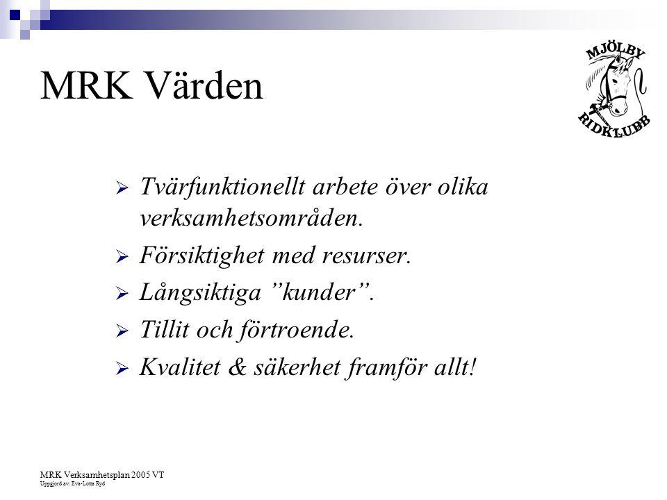 MRK Värden Tvärfunktionellt arbete över olika verksamhetsområden.
