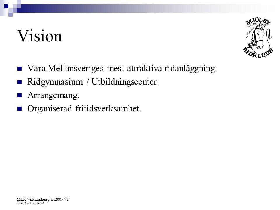 Vision Vara Mellansveriges mest attraktiva ridanläggning.