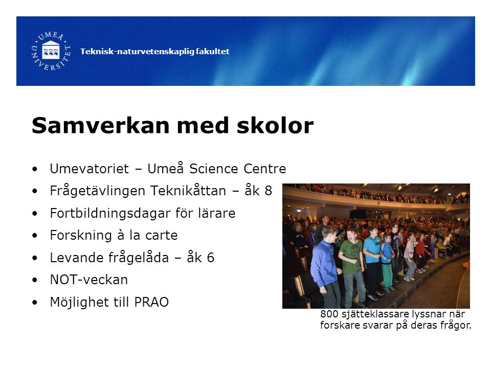Samverkan med skolor Umevatoriet – Umeå Science Centre