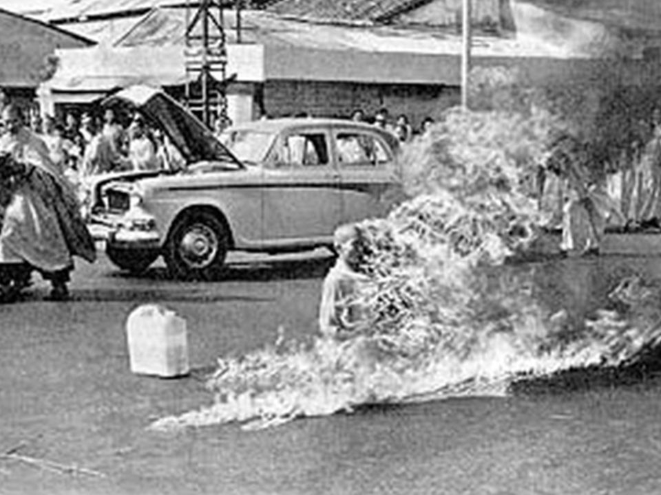 June 11, 1963, Thich Quang Duc, a Buddhist monk from Vietnam, burned himself to death at a busy intersection in downtown Saigon to bring attention to the repressive policies of the Catholic Diem regime that controlled the South Vietnamese government at the time. Buddhist monks asked the regime to lift its ban on flying the traditional Buddhist flag, to grant Buddhism the same rights as Catholicism, to stop detaining Buddhists and to give Buddhist monks and nuns the right to practice and spread their religion.