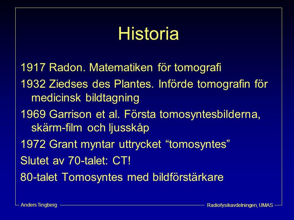 Historia 1917 Radon. Matematiken för tomografi