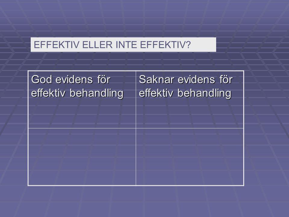 God evidens för effektiv behandling
