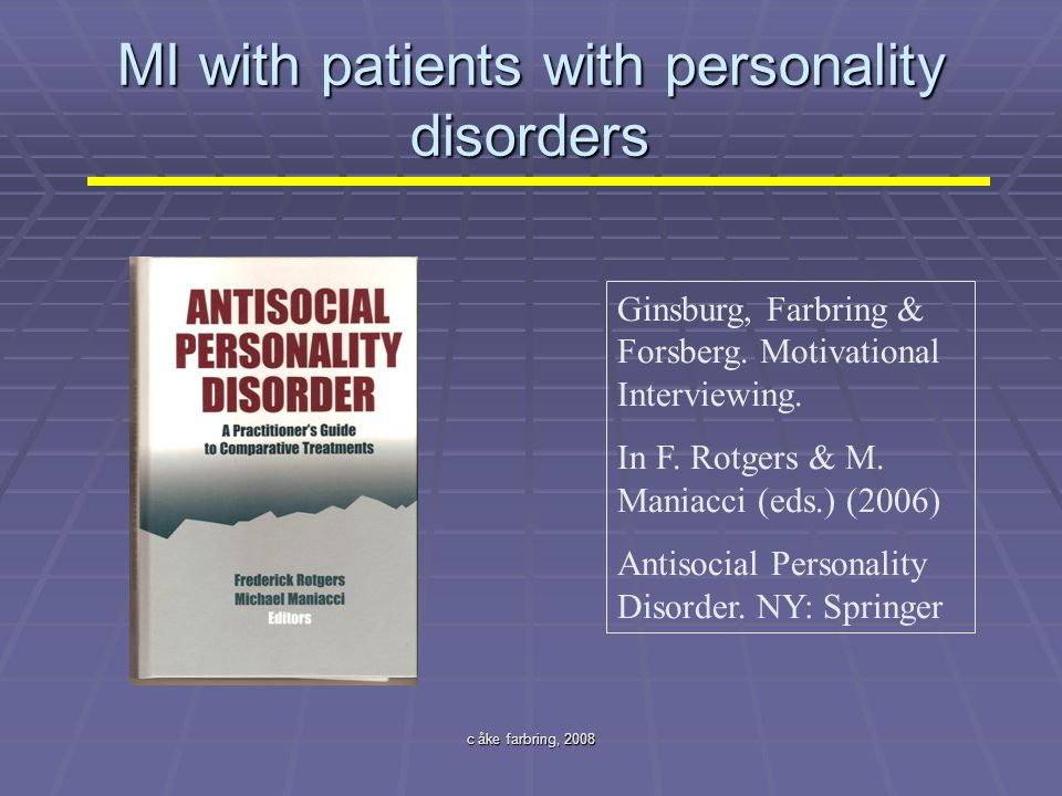 MI with patients with personality disorders