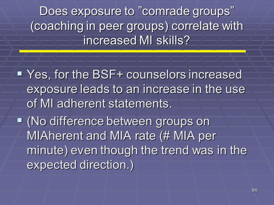 Does exposure to comrade groups (coaching in peer groups) correlate with increased MI skills