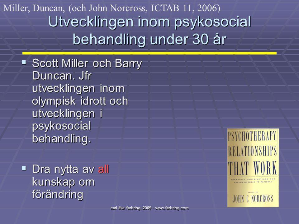 Utvecklingen inom psykosocial behandling under 30 år
