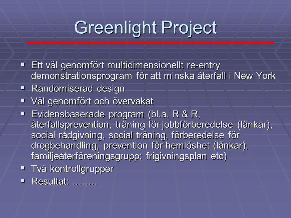 Greenlight Project Ett väl genomfört multidimensionellt re-entry demonstrationsprogram för att minska återfall i New York.