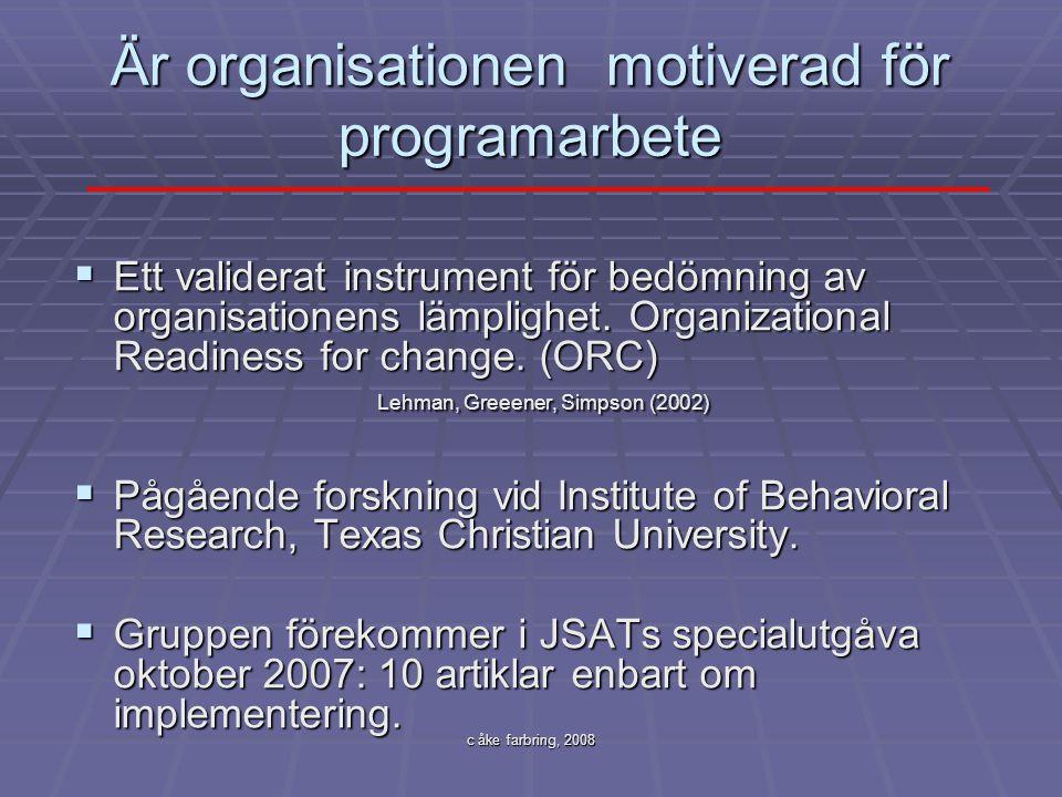 Är organisationen motiverad för programarbete