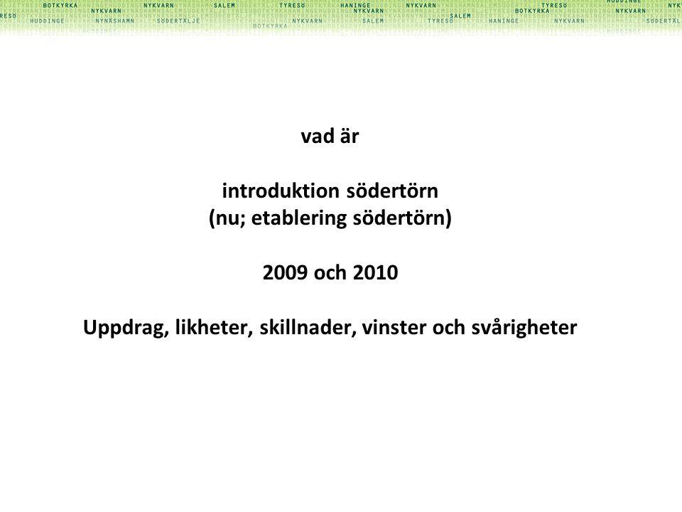 vad är introduktion södertörn (nu; etablering södertörn) 2009 och 2010 Uppdrag, likheter, skillnader, vinster och svårigheter