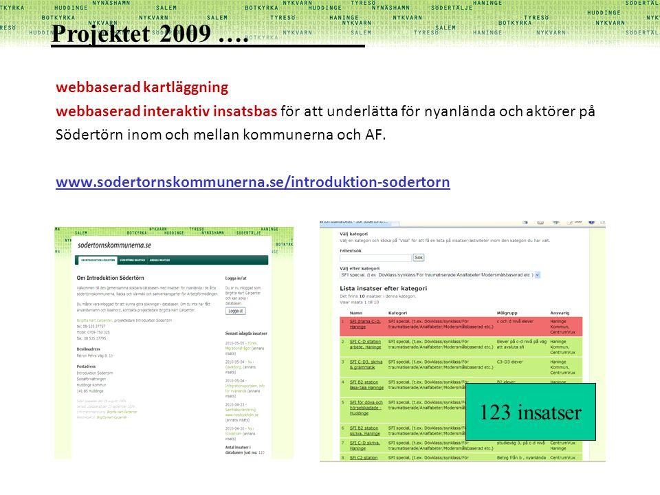 Projektet 2009 …. 123 insatser webbaserad kartläggning