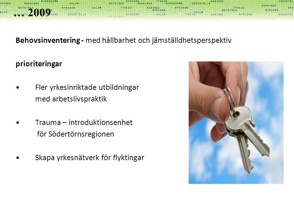 … 2009 Behovsinventering - med hållbarhet och jämställdhetsperspektiv