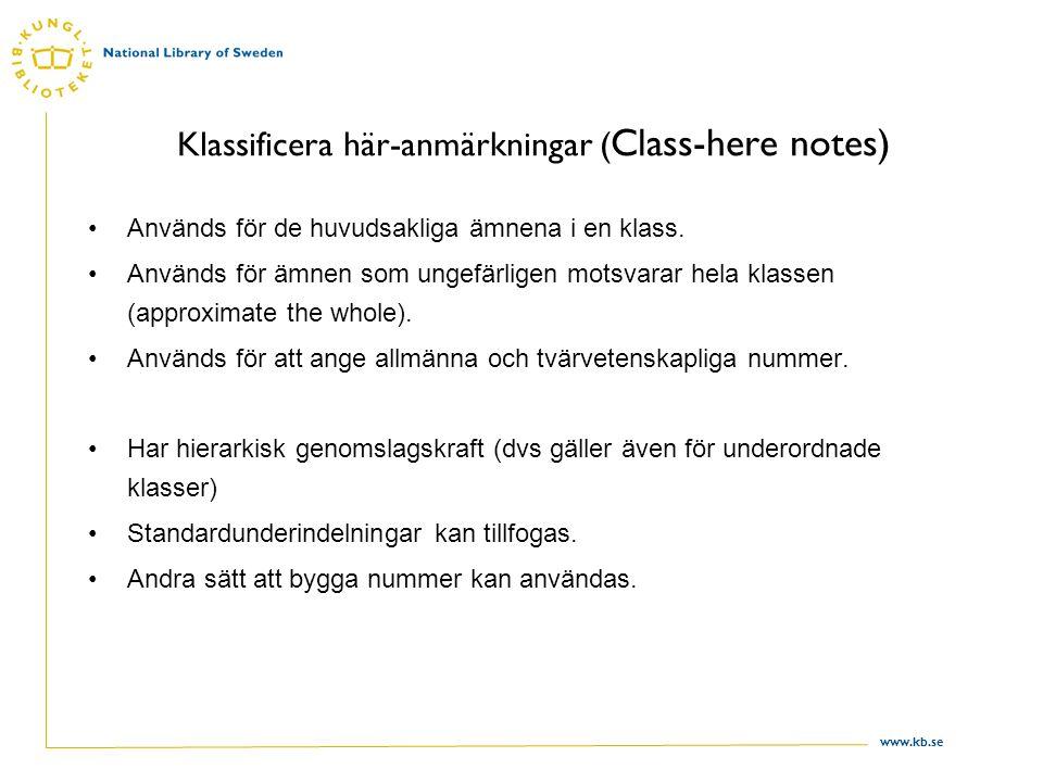 Klassificera här-anmärkningar (Class-here notes)