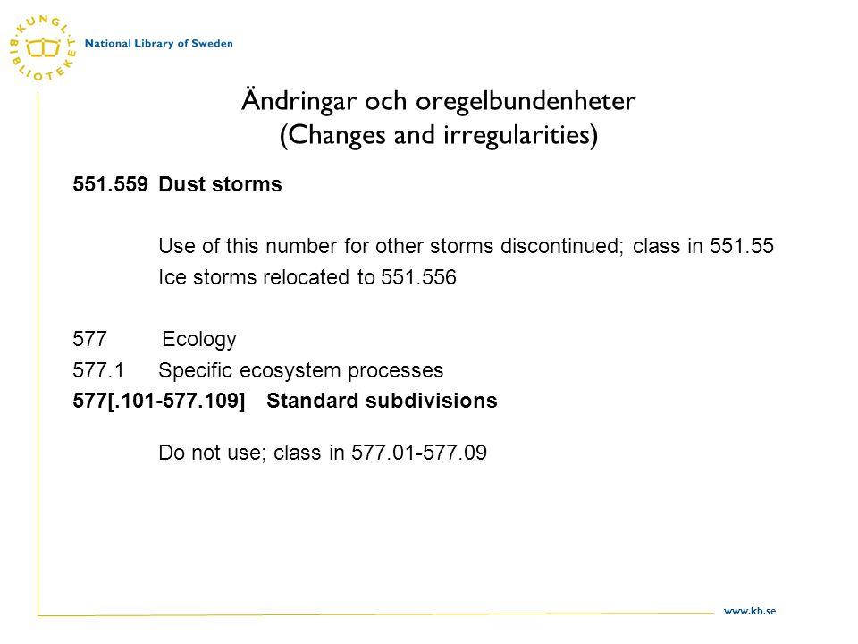Ändringar och oregelbundenheter (Changes and irregularities)