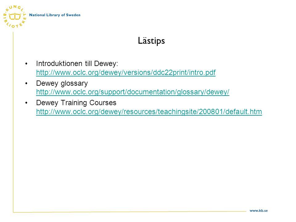 Lästips Introduktionen till Dewey: http://www.oclc.org/dewey/versions/ddc22print/intro.pdf.