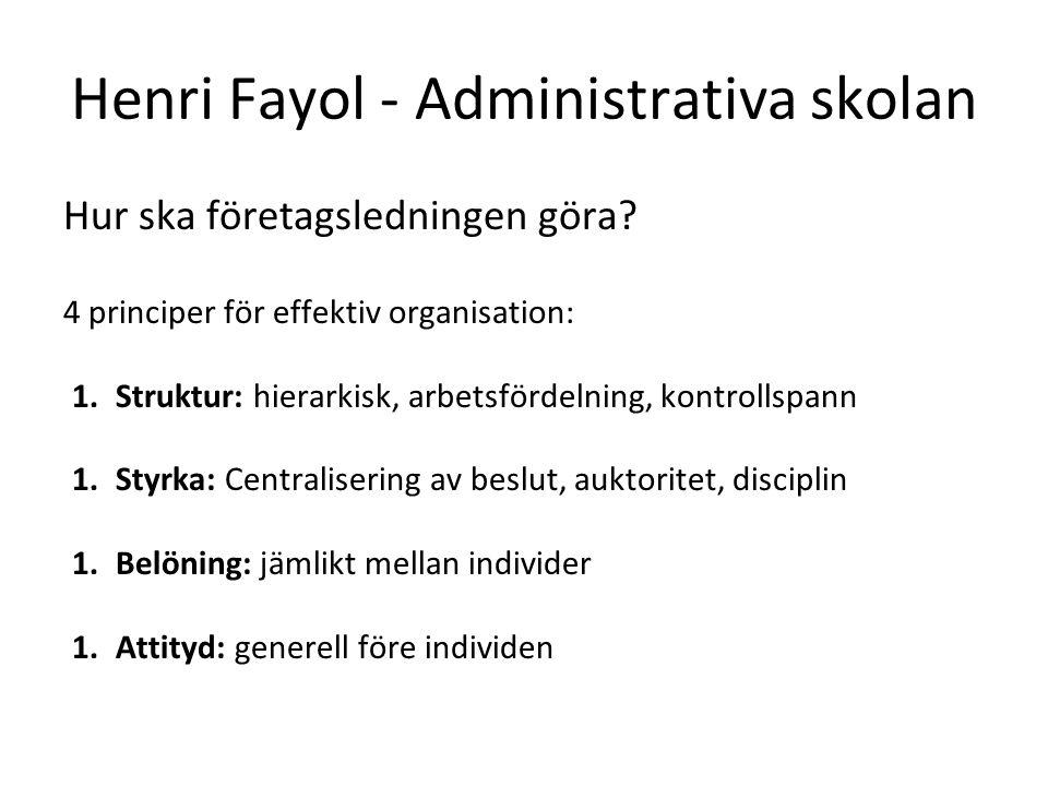 Henri Fayol - Administrativa skolan