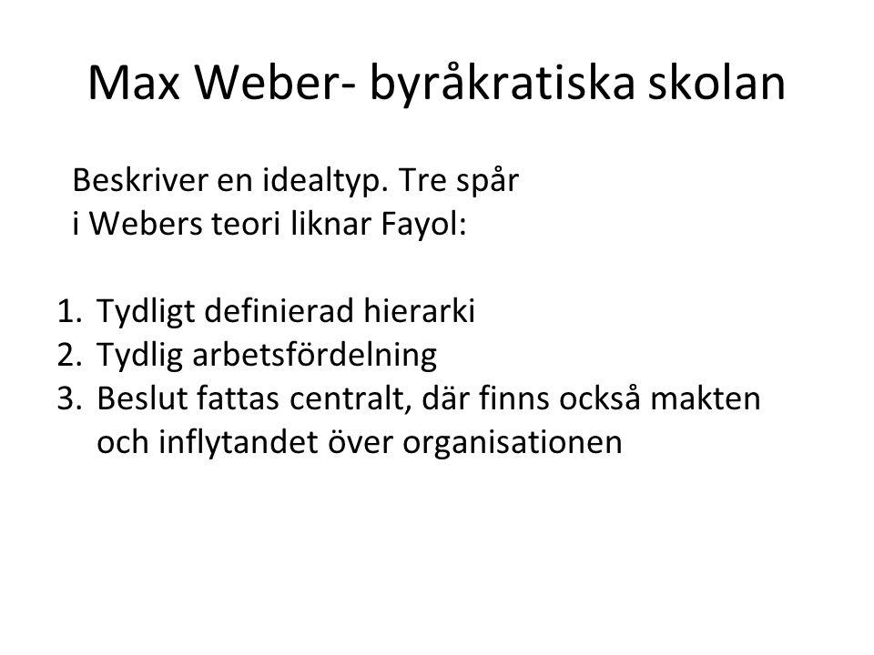 Max Weber- byråkratiska skolan