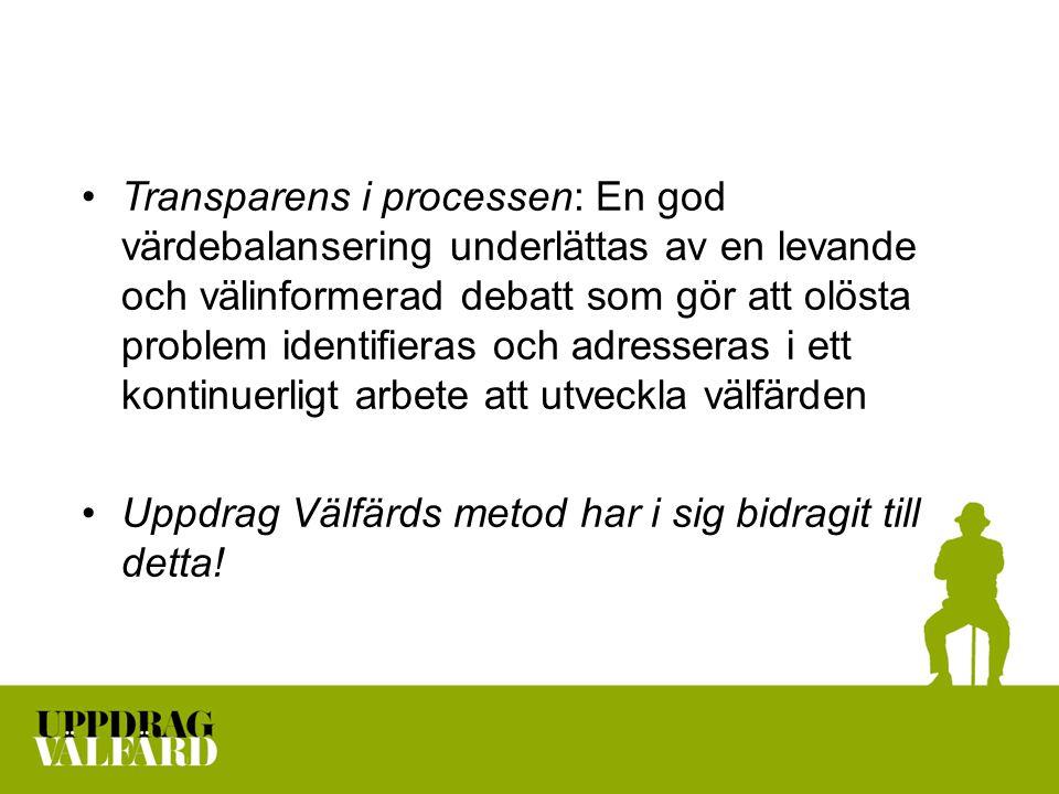Transparens i processen: En god värdebalansering underlättas av en levande och välinformerad debatt som gör att olösta problem identifieras och adresseras i ett kontinuerligt arbete att utveckla välfärden