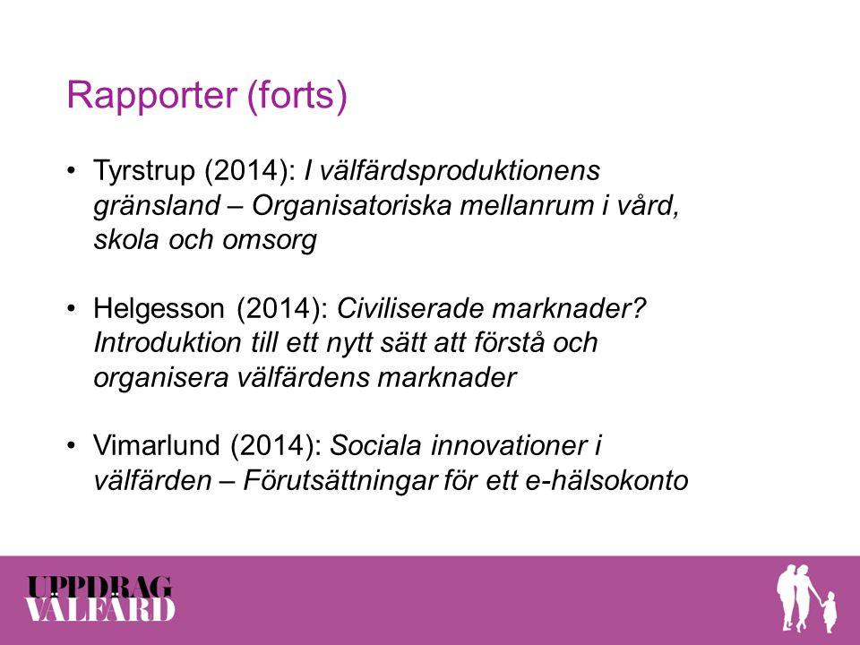 Rapporter (forts) Tyrstrup (2014): I välfärdsproduktionens gränsland – Organisatoriska mellanrum i vård, skola och omsorg.