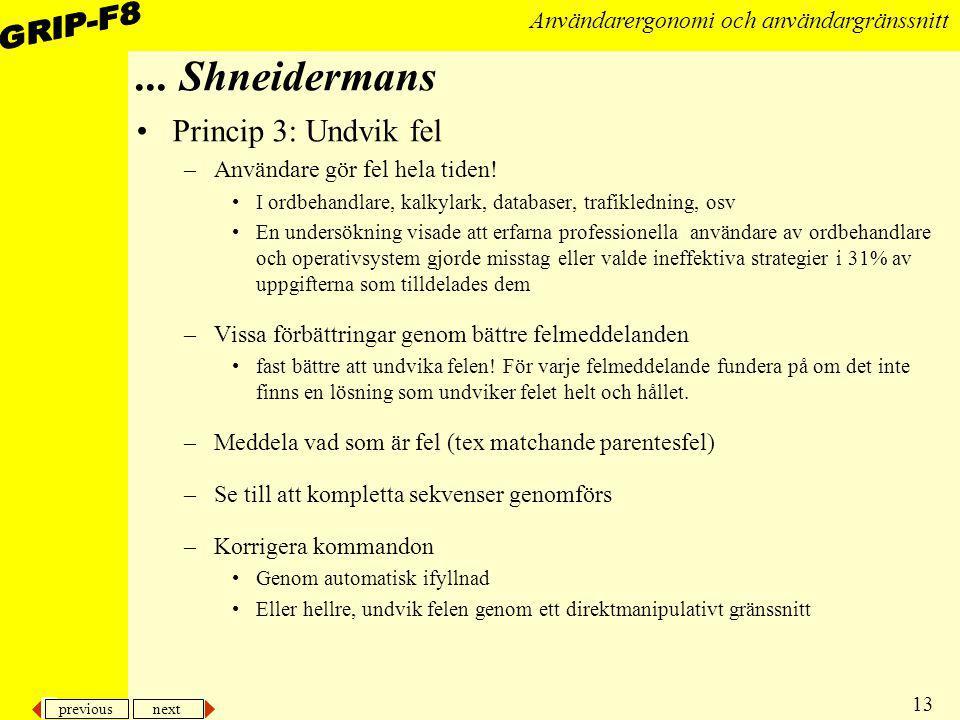 ... Shneidermans Princip 3: Undvik fel Användare gör fel hela tiden!