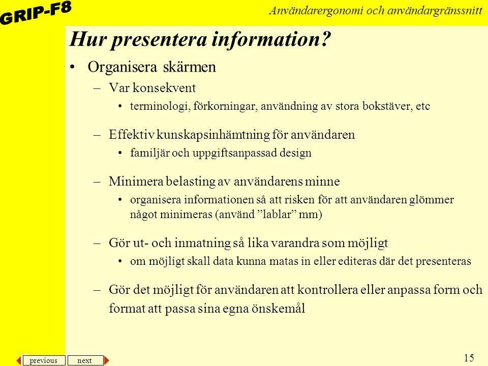 Hur presentera information