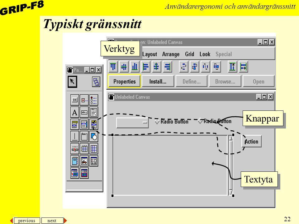 Typiskt gränssnitt Verktyg Knappar Textyta