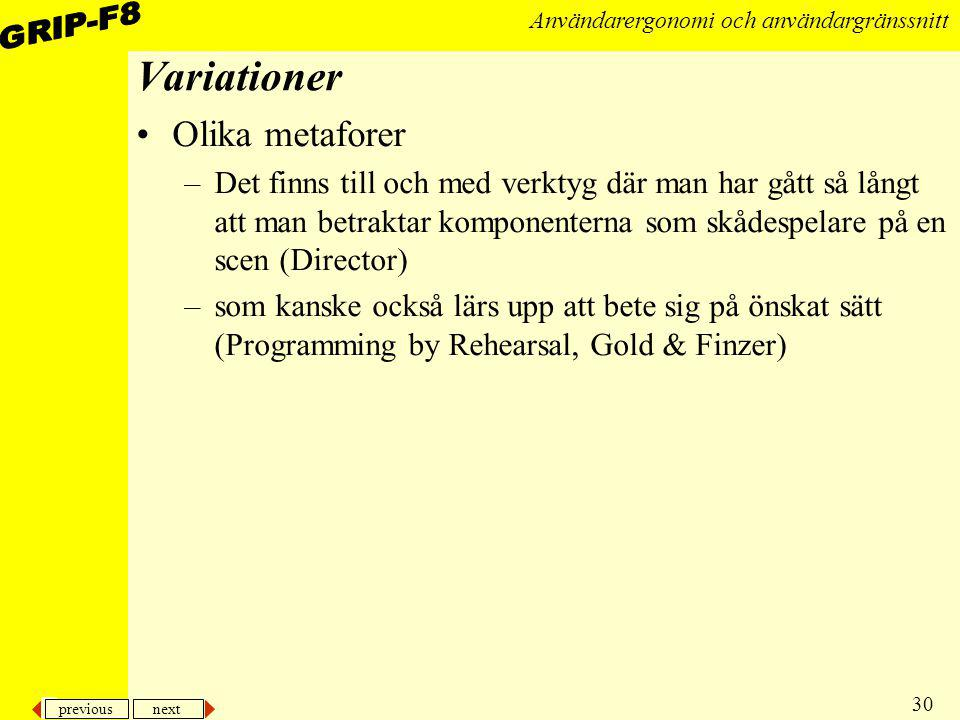 Variationer Olika metaforer