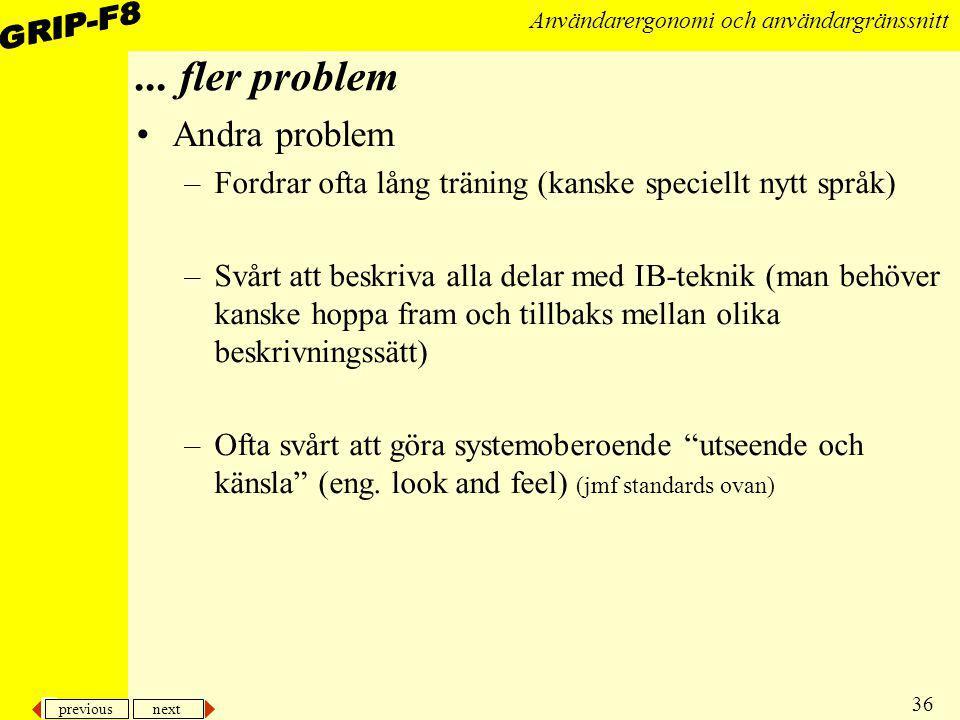 ... fler problem Andra problem