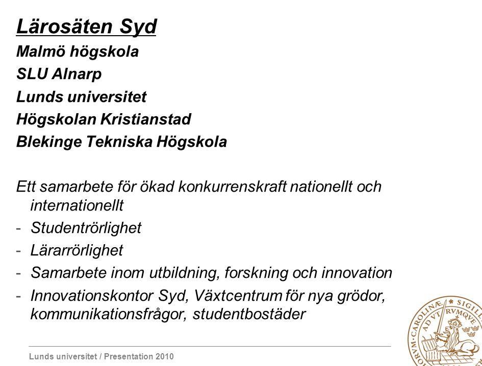 Lärosäten Syd Malmö högskola SLU Alnarp Lunds universitet