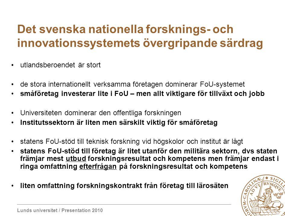 Det svenska nationella forsknings- och innovationssystemets övergripande särdrag