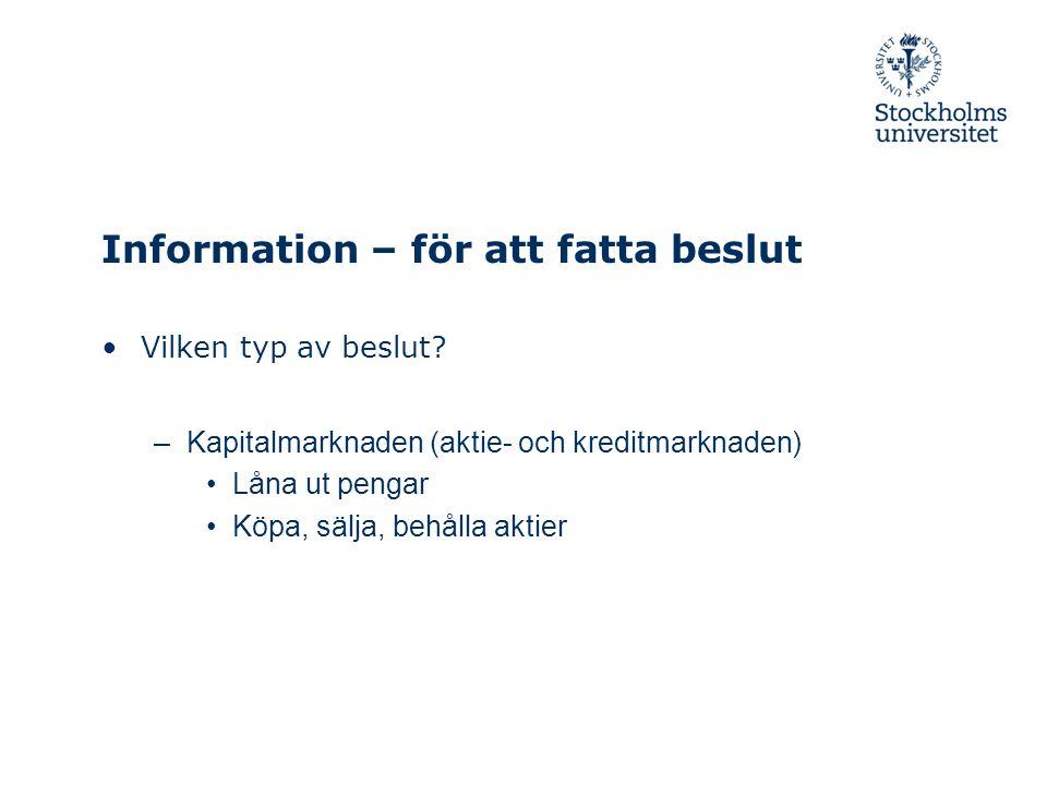 Information – för att fatta beslut