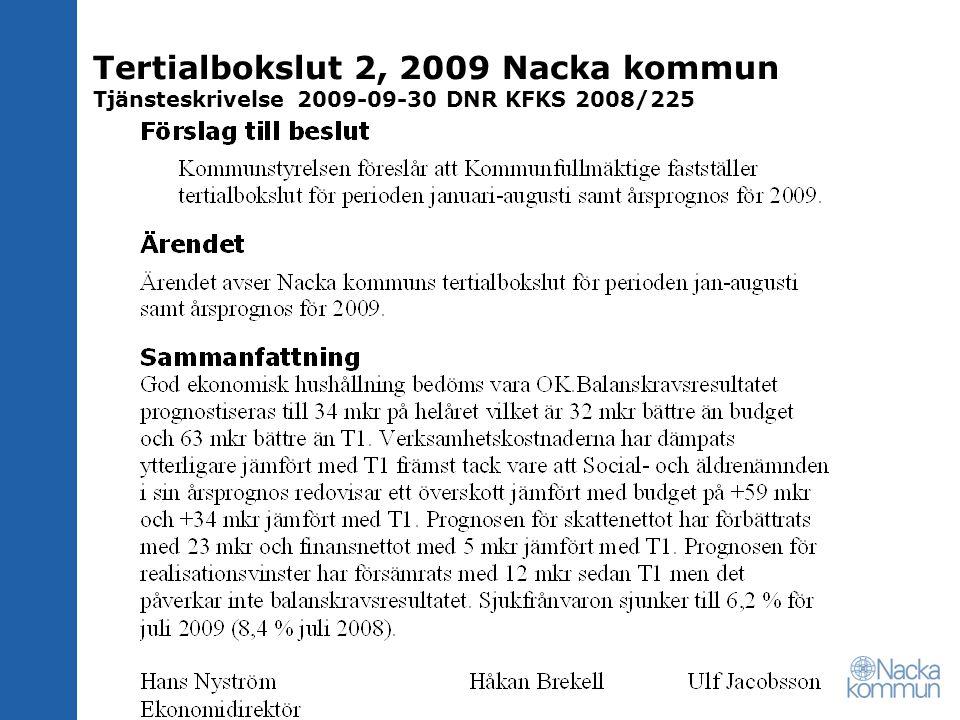 Tertialbokslut 2, 2009 Nacka kommun Tjänsteskrivelse 2009-09-30 DNR KFKS 2008/225